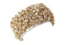 Designer Statement Wide White Genuine Leather Gauntlet Cuff w Swarovski Crystals