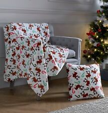 Christmas Throw & Matching Cushion Covers, 2 Throw Sizes and a matching cover