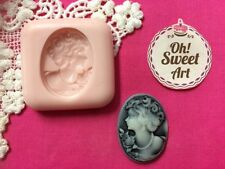 Lady II Brooch Cameo silicone mold fondant cake decorating food soap cupcake FDA