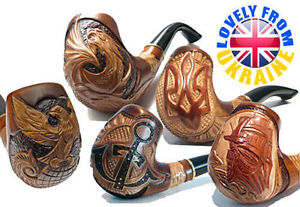 Difficult Hand Carved Wooden Smoking Pipes for 9 mm * 50 + MODELS FOR CHOICE *