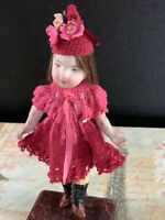 """5"""" ANTIQUE GERMAN BISQUE AND COMPOSITION GIRL DOLL"""