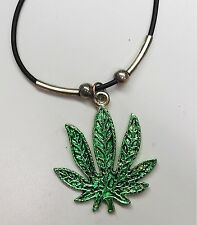 "1.5"" Green Leaf Marijuana Pot Weed  - PENDANT NECKLACE CHOKER CHARM   New"