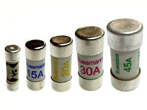 Consumer Unit Cartridge Fuse 5A 15A 20A 30A 45A Fuses BS1361 Bussmann Eaton