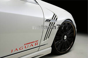 Powered by JAGUAR X Tipe XKR S XJR XJ8 Racing Decal sticker emblem logo RED Pair