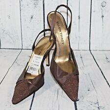 Ellen Tracy Sz 6 Pointy Beaded Toe Brown Fabric Sling Back Classic Heels Pumps