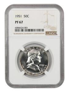 1951 50c NGC PR 67 - Franklin Half Dollar - Scarce Issue