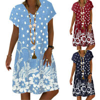 Ladies Floral Short Sleeve Baggy Tunic Dress Summer Boho Beach Kaftan Plus Size
