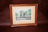 """Vintage 14x11"""" Wood Framed CM Chantant Print - """"L' Arc de Triomphe - Paris"""""""