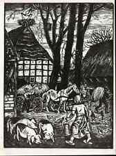 STORCH NIEDERSÄCHSISCHES DORF - Fritz SINDEL Rotenburg  OriginalHolzschnitt 1937