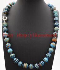 "Natural Beautiful 10mm Round Blue Stripe Turquoise Gemstone Necklace 18""AAA"