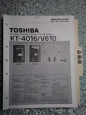 Toshiba kt-4016 v610 service manual original repair book stereo tape deck radio