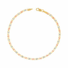 """10K Solid Tri-Color Yellow Rose White Gold 2.5mm Valentino Chain Bracelet 7""""- 9"""""""