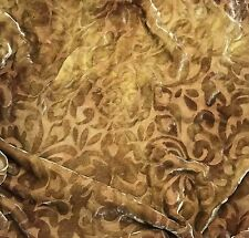 """Hand Dyed Burnout Silk VELVET Fabric GOLDEN BROWN SCROLL 45"""" by the yard"""