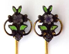 2 Matching Art Nouveau Style Stickpins Enamel Flowerrs Rhinestone