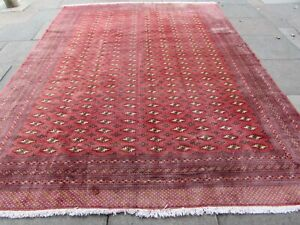Vintage Traditional Hand Made Rug Oriental Faded Red Wool Large Carpet 342x260m
