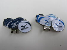 Golf Ball Markers Hat Clips  2x MIZUNO * White  & Blue * Golf Bag Magnetic