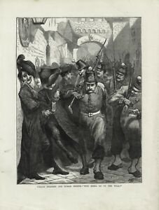 OLD 1872 PRINT ITALIAN SOLDIERS AND ROMAN PRIESTS WHO SHALL GO TO THE WALL B86