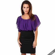 Krisp Pencil Oversize Contrast High Waist Pleated Chiffon Batwing Dress Party 12 Purple