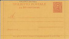 COLONIA ERITREA-Biglietto Postale da 20 centesimi- Nuovo e integro