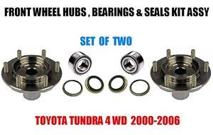 Toyota Tundra 4WD Front Wheel Hubs, Bearings & Seals Kit Assy 2000-2006 SET OF 2