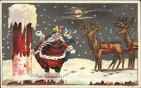 Christmas - Santa Claus Can't Figure Out How to Get Down Tall Chimney c1910