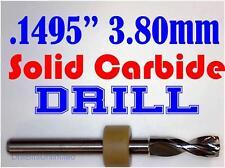 ".1495"" 3.80mm  -Solid Carbide Drill Bit - 1/8"" Shank -Sharp! CNC Hobby Model -lu"