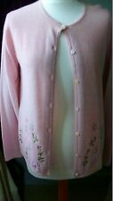 Past Times pink butterfly embroidered lambswool/angora cardigan size Small BNWOT