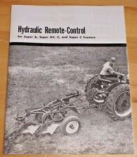 Ih Mccormick Farmall Super A Av C Hydraulic Remote Control Brochure Pamphlet