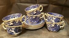 6 Burleighware Cups & Saucers - Willow W/ Gold Trim