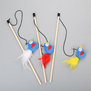 (W026) Cat Kitten Soft Bird with Feather Tail Teaser Wand Toy with Bell