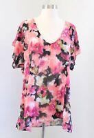 Show Me Your Mumu Semi Sheer Floral V Neck Top Blouse Size L Black Pink Tie Dye