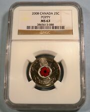 2008 CANADA 25c POPPY COLORIZED NGC MS67 QUARTER 1918 ARMISTICE 2008