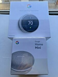 Google Nest Thermostat 3rd Gen Polished Steel T3019US & Home Mini combo SEALED