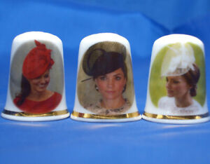 Birchcroft China Thimbles -- Set of Three -- Duchess of Cambridge Fashion