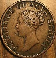 1843 NOVA SCOTIA HALF PENNY TOKEN COIN