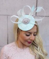 MINT Green Silver Feather Statement Pillbox Hat Fascinator Formal Ascot 4449