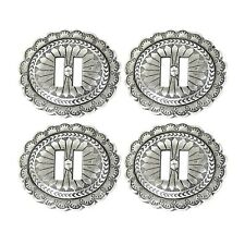 4 Pack  Western Saddle Bright Silver Oval  Antiqued Slotted Concho 1-7/8″