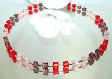 Kette Würfelkette funkelndes Kristallglas geschliffen Rot Rosa Amethyst 095e
