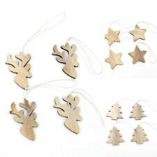 12x Christmas XMAS Tree Ornament Whitewash Wooden Natural Hanging Decorations