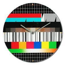 Orologio da Parete in Vetro 34cm Retrò TV con Immagine Interruzione Programmi