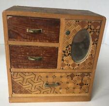 Vintage Japanese Marquetry Wood Trinket Box Chest Drawers Yosegi Zaiku ?