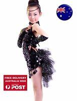 Girl Child Kids Ballet Dance Latin Jazz Tutu Costume Party black sequins Dress