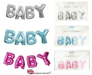 BABY WORD FOIL BALLOON Baby Shower Gender Reveal Party Decor Boy Girl GM2794 UK