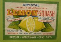 OLD SOFT DRINK CORDIAL LABEL, 1950s KRYSTAL KOPENHAGEN DENMARK, LEMON SQUASH