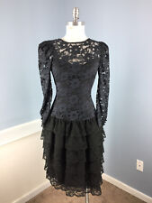 Vintage S Navy Blue Black Lace Tiered Rockabilly Dress Long Slv Cocktail Party