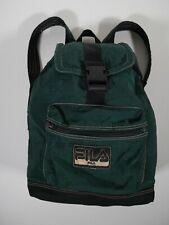 FILA Rucksack Back Pack Backpack Nylon 90s Vintage Green Black Gold