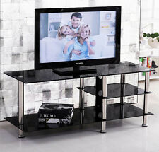 TV Cabinet Black Entertainment Unit Modern Glass Chrome Stand Lowline Shelf TV8