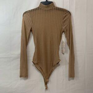 IRIS Women NIB Sheer Metallic Mesh Long Sleeve Mock Neck Bodysuit in Light Brown
