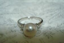 "Authentic ""MIKIMOTO"" platinum 8.3mm Akoya  Pearl  and 2 Diamond Ring"