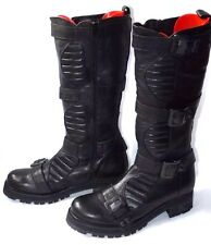 Asos Black Pelle Da Motociclista Moto Goth Punk Grunge Stivali UK 8